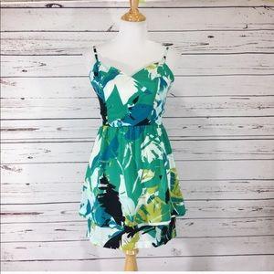 Bebe Tropical Print Peplum Skirt Dress